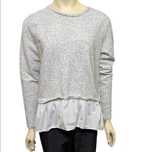 VINEYARD VINES Gray White Ruffle Sweatshirt Top L